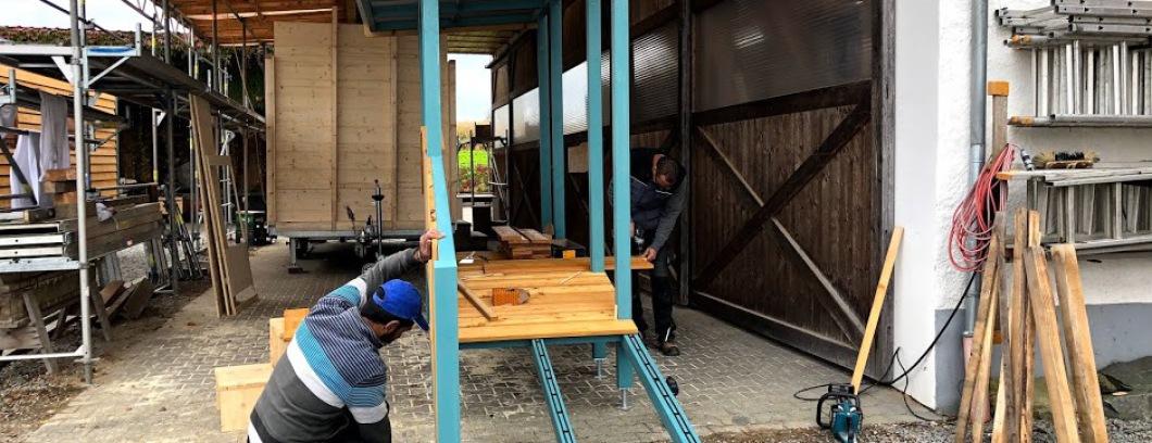 Eingangsrampe beim Bauwagen