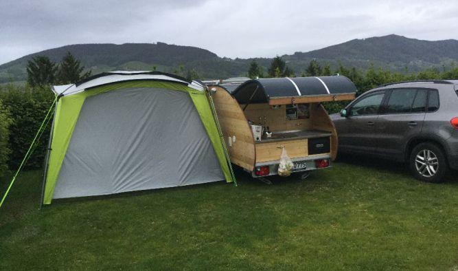 Camping Urlaub nach Nordspanien und Frankreich mit dem Mini Wohnwagen